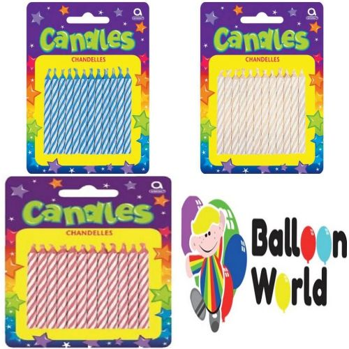 Amscan Candy Stripe Candles 24 Pieces - SELECT COLOUR